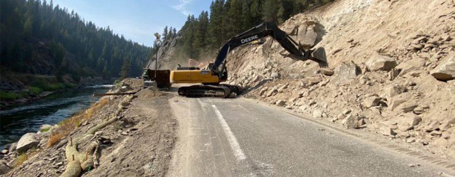 excavator on road
