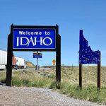 Image of Welcome to Idaho sign on US-93 at Nevada/Idaho border