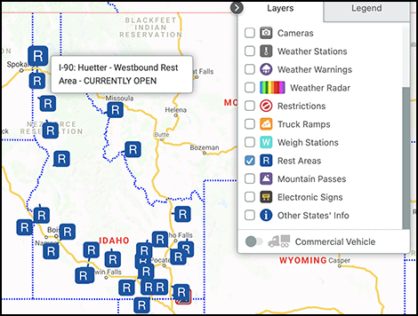 View of Idaho Rest Areas in the 511 App