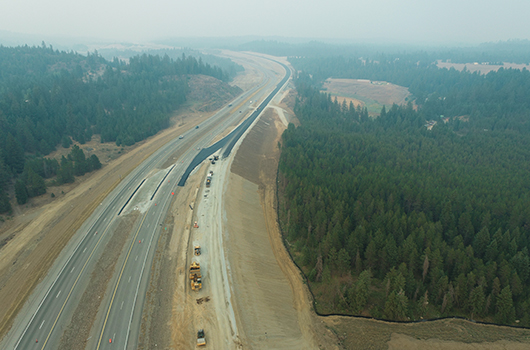 Smoky conditions above newly paved frontage road for US_95
