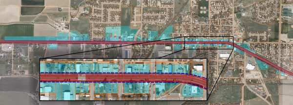 Graphic: property impacts of 100' for highway expansion