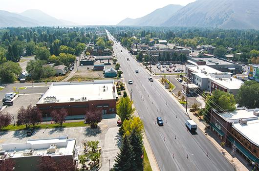 Striping work this week on Idaho Highway 75 in Hailey