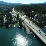 Drone shot of the southern end of the Long Bridge
